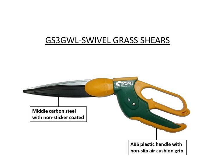 MIDDLE CARBON STEEL SWIVEL GRASS SHEARS (WAVY BLADE) WITH NON-STICKER COATED