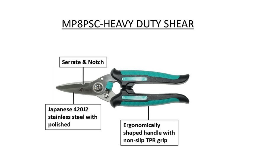 JAPANESE 420J2 STAINLESS STEEL HEAVY DUTY SHEAR (SERRATE&NOTCH) WITH POLISHED