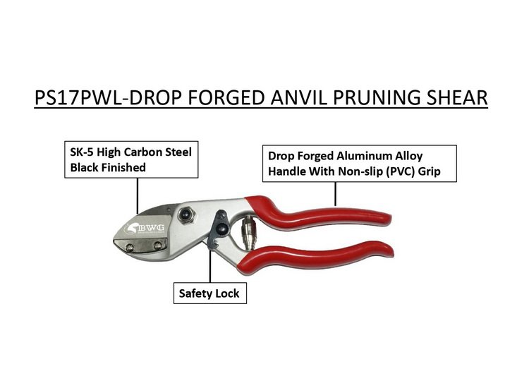 SK5 DROP FORGED ANVIL PRUNING SHEARS WITH BLACK FINISHED AND POLISHED