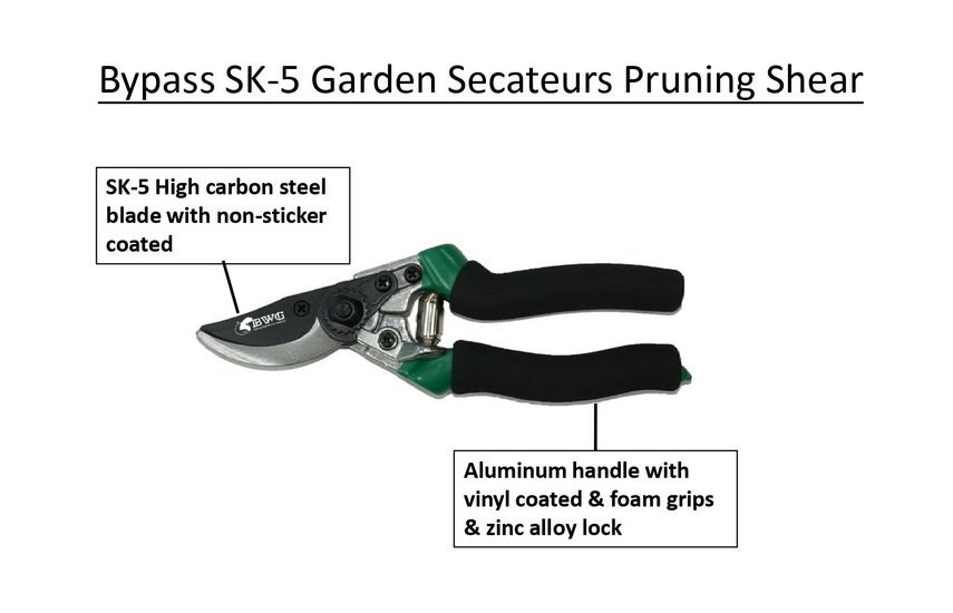 SK5 BY PASS PRUNING SHEAR WITH NON-STICKER COATED finish
